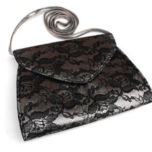 Neiman Marcus Metallic & Lace Crossbody Purse